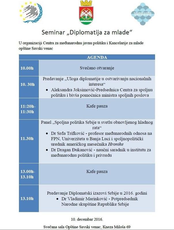 """Seminar """"Diplomatija za mlade"""""""