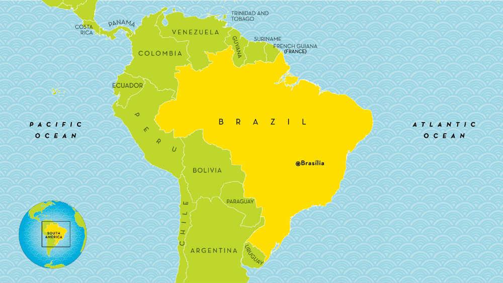 Mapa Južne Amerike, Brazil i susedi