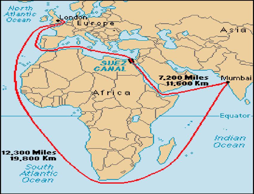 Prikaz skraćenog puta od Londona do Indije zahvaljujući izgradnji Sueckog kanala