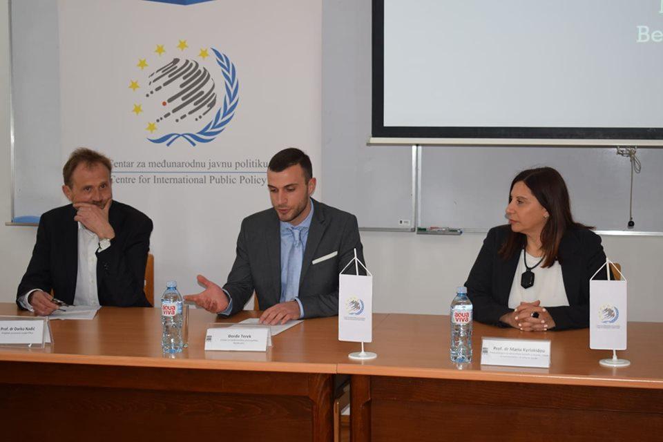 Profesor Darko Nadić, Đorđe Terek i profesorka Maria Kiriakidu na predavanju studentima FPN