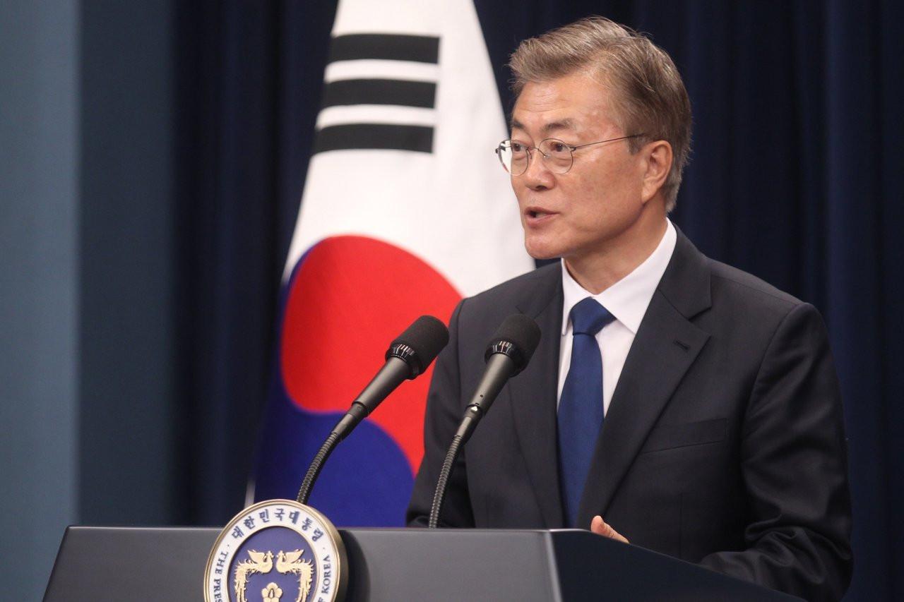 Predsednik Južne Koreje Mun Džae-in na konferenciji za medije u Seulu (Foto: Xinhua/Yao Qilin)